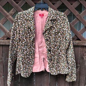Calico flower prints corduroy jacket